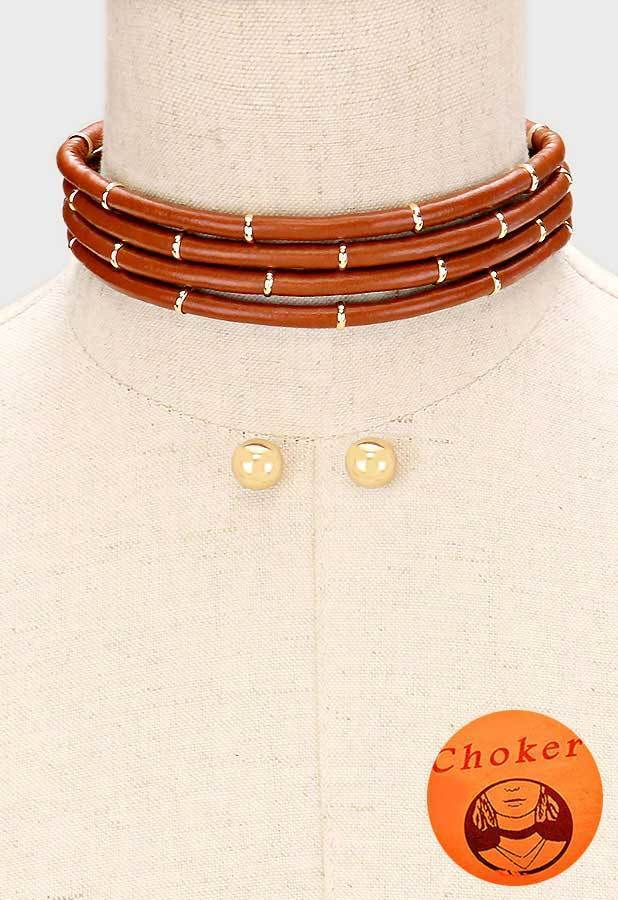 gold brown multi strand leather cord choker necklace