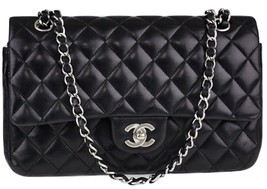 Authentic Chanel Black Medium Lambskin  Double Flap Bag SHW