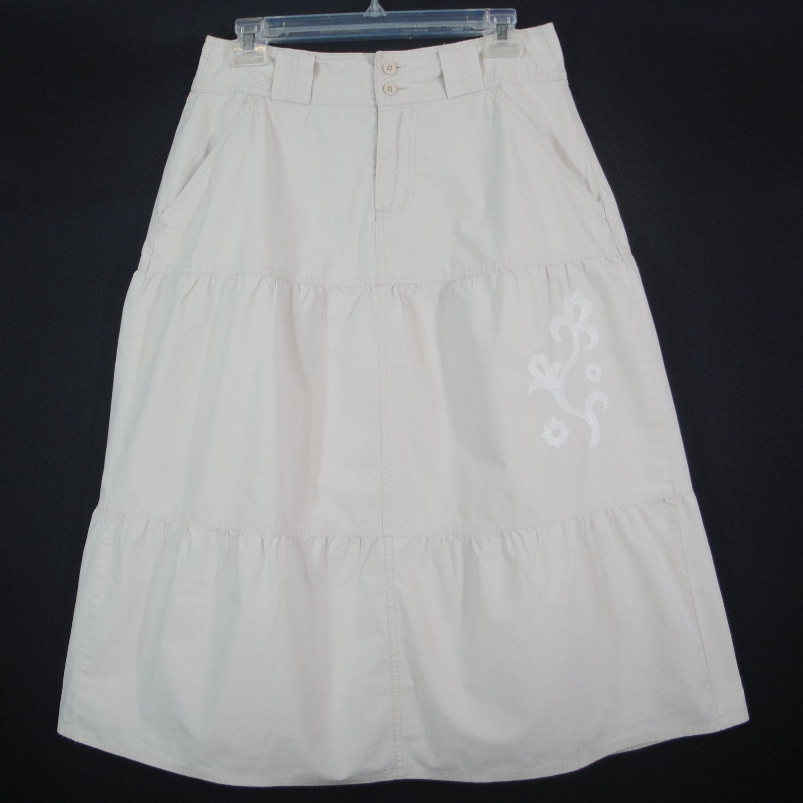 Duck head skirt tiered a line casual lined embroidered off white khaki womens 6 cotton
