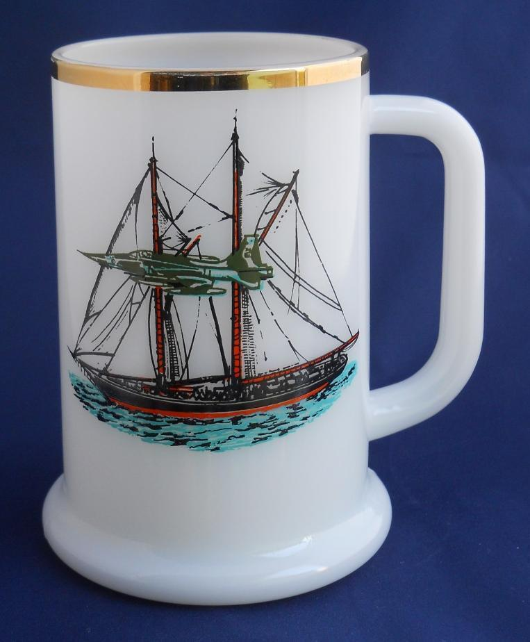 Primary image for Milk Glass Milkglass Coffee Cup Mug Stein with Clipper Ship & Fighter Jet