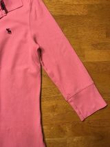 Abercrombie Girl's Pink 3/4 Sleeve Polo Shirt - Size: Large image 9