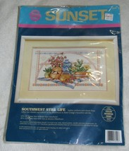 VTG 1992 Sunset Southwest Still Life Counted Cross Stitch Kit Native American  - $17.49