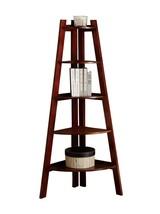 Corner Bookcase Ladder Display Shelf  5-Tier Bookshelf Furniture Cherry ... - €131,45 EUR