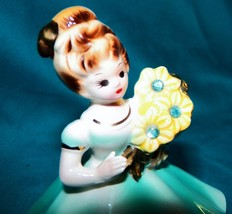 Vintage Josef Originals Birthday Girl Birthstone Figurine March Aquamarine Japan - $33.99