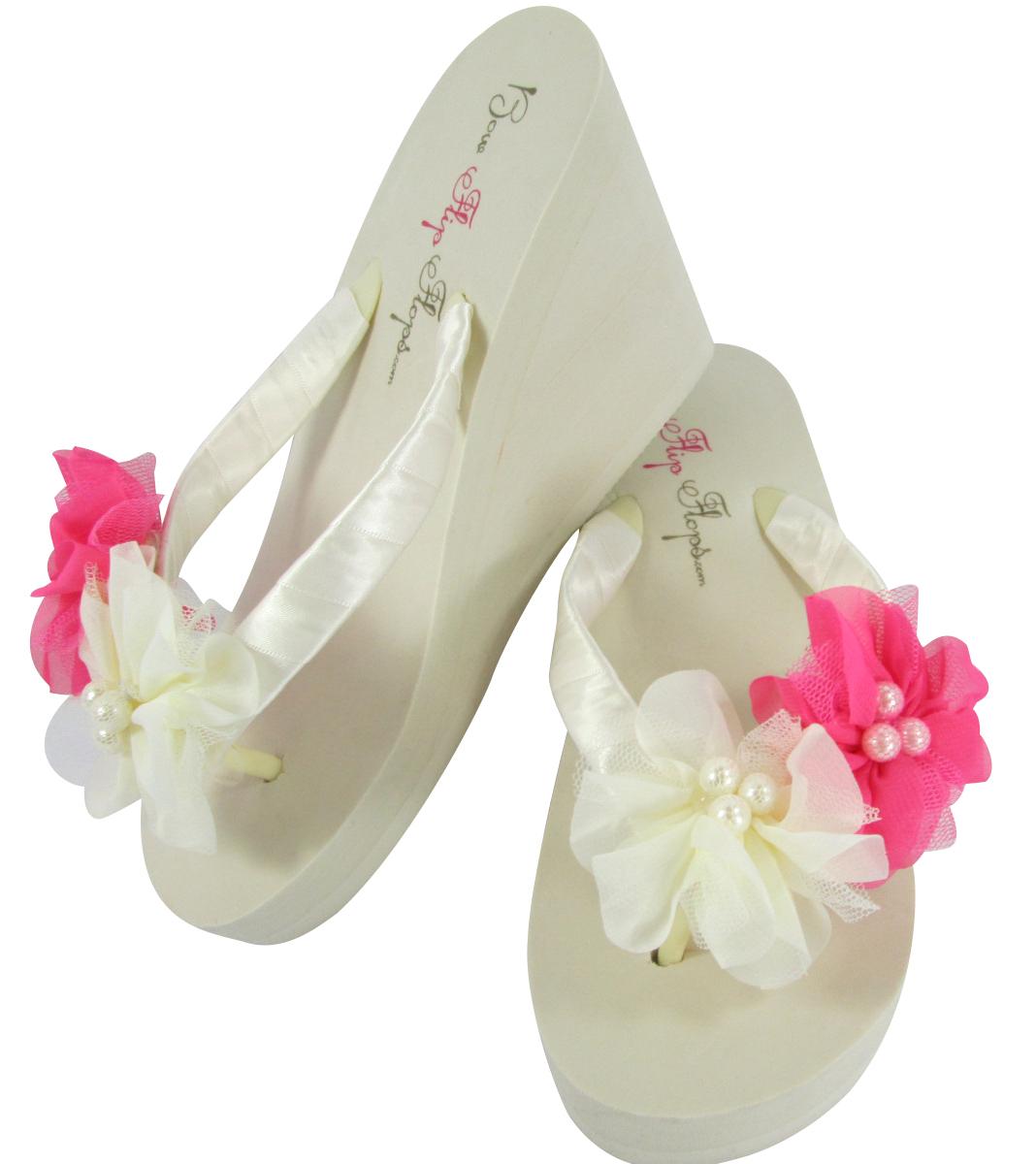 837c7bebf Ivory Chiffon Pearl Flower Flip Flop Wedges and 50 similar items
