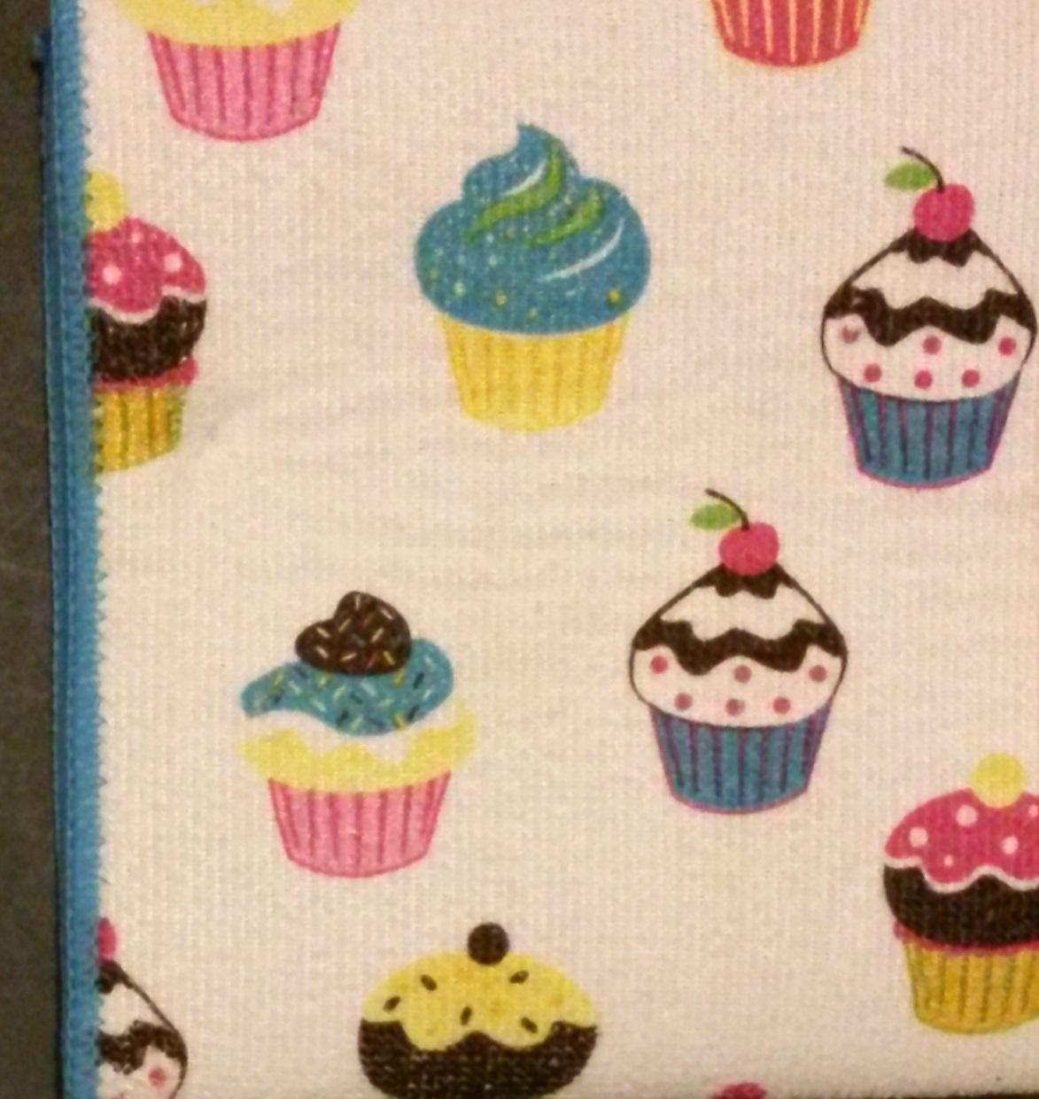 Cupcake Theme Kitchen Linens Set 3 Pc Drying Mat Towel Cloth Cupcakes Blue New Towels Dishcloths