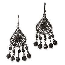 Ladies Black Plated Black Epoxy Stones Leverback Dangle Earrings 1928 Bo... - $45.66 CAD