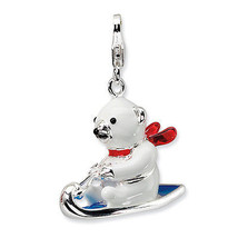 Amore La Vita 925 Silver 3D Enameled Polar Bear On Sled w/Lobster Clasp ... - $42.89