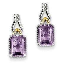 925 Sterling Silver Rhodium & Flash Gold Plated Accent Pink Quartz Earrings - €64,71 EUR