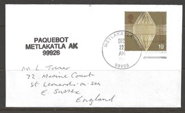 1990 Paquebot cover, British stamp used in Metlakatla, Alaska - $5.00