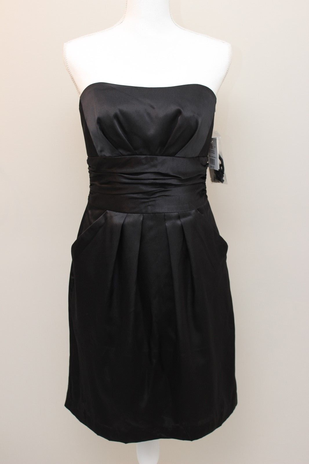 Primary image for DAVIDS BRIDAL WOMENS 83707 BLACK SATIN BRIDESMAIDS COCKTAIL DRESS ~NWT~SZ 8