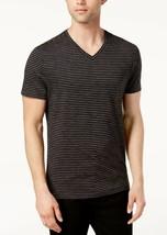 Alfani Men's Space-Dyed Stripe V-Neck T-Shirt, Deep Black, 3XL - $16.82