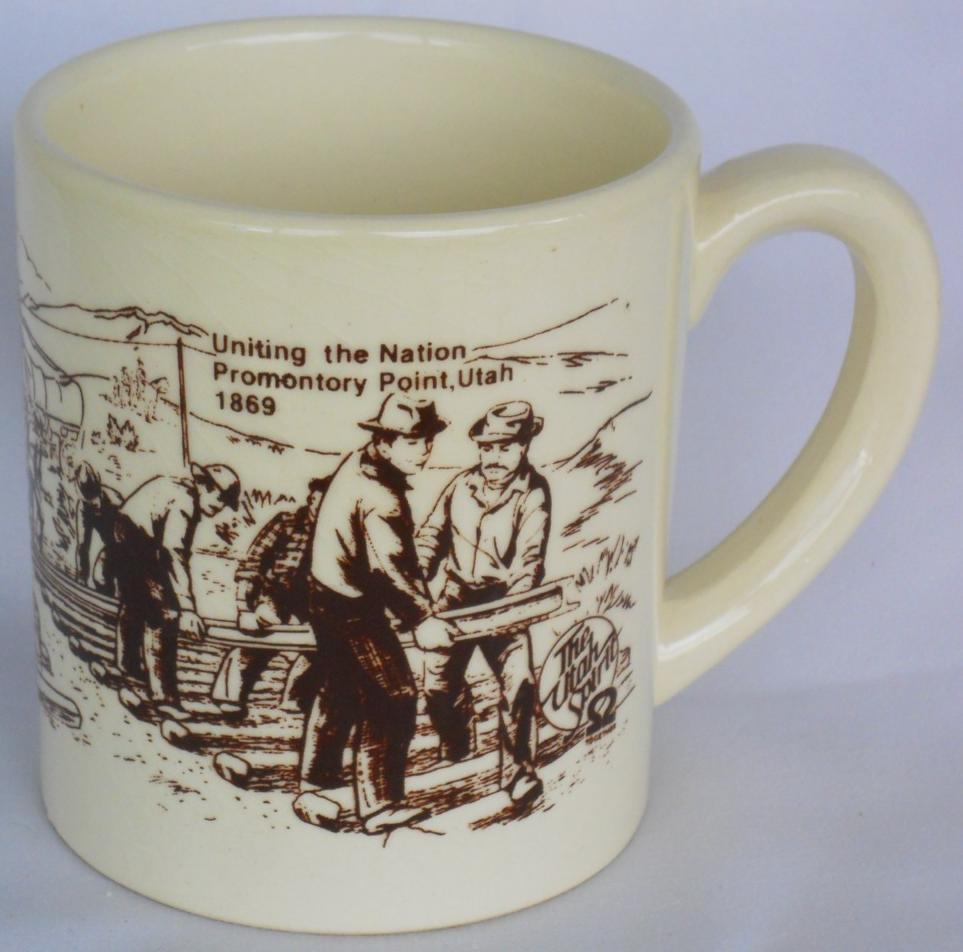 Primary image for Promontory Point, Utah 1869 CUP MUG KUTV Channel 2 Souvenir The Spirit Railroad