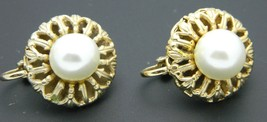 White Faux Pearl Ornate Openwork Gold Tone Clip-On Earrings Vintage - $13.86