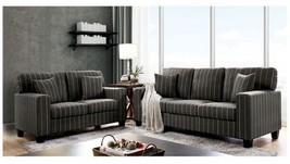 Vitebsk Contemporary Style Sofa Set in PinStripe Dark Gray Fabric - $1,486.00