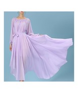 Long Sleeve Dress Bohemian Long Skirt Chiffon   light purple   S - $30.59