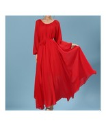 Long Sleeve Dress Bohemian Long Skirt Chiffon   red   S - $30.59