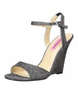 Betsey Johnson Duane Metallic Glitter Fabric Open Toe Platform Wedge Hee... - £40.56 GBP
