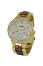 Geneva Platinum 12232812 Women's Czech Rhinestone Decorative Chronograph... - $32.99