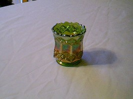 Imperial Glass Green Carnival Three In One Toothpick Holder Color Is RARE - $44.55