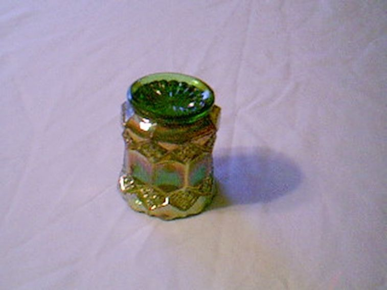 Imperial Glass Green Carnival Three In One Toothpick Holder Color Is RARE
