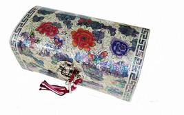 Mother of pearl wood  trinket jewelry box jewel case organizer peony flo... - €287,18 EUR