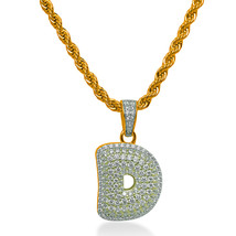 "925 Sterling Silver Gold Plated Custom Iced Out Bubble Letter ""D"" with 2... - $79.99"