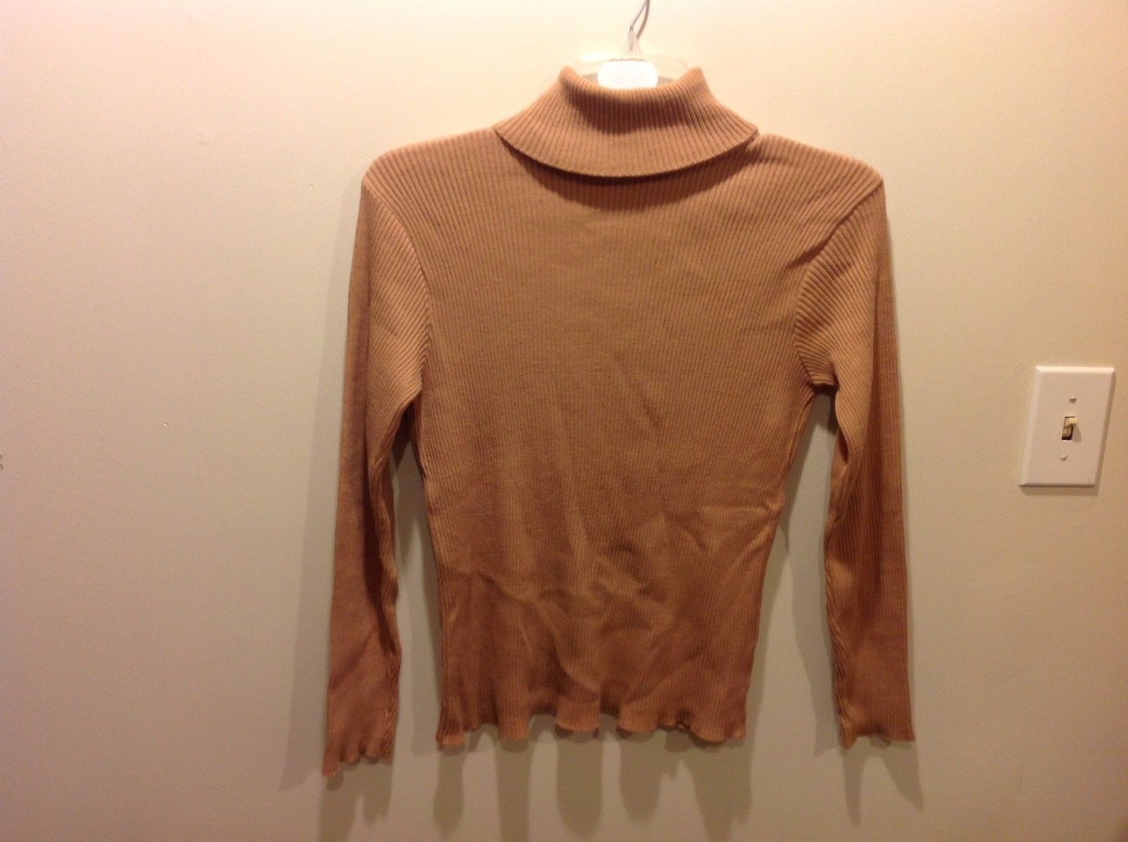 Moda Int'l Tan Nude Textured Stylish Sweater Turtleneck/Mock Sz M