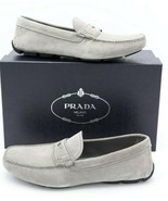 NIB PRADA Mens Gray Suede Penny Loafer Driving Shoes New 10.5 - $325.00