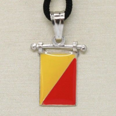 SOLID 925 STERLING SILVER PENDANT WITH NAUTICAL FLAG, LETTER O, ENAMEL, CHARM