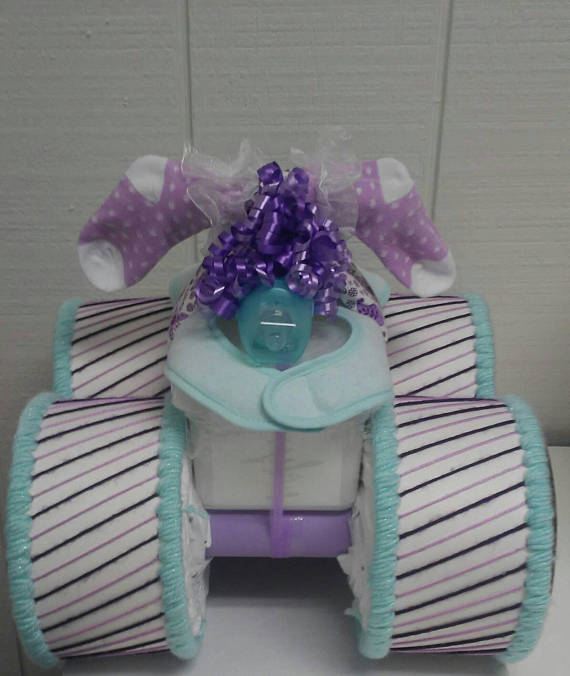 Lilac Purple Mint Green Purple Themed Baby Shower Four Wheeler Diaper Cake Gift