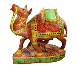 Antique Indian Handcrafted Wooden Camel Figurine Statue with Painted Hom... - $124.99