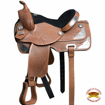 "U-O100 14"" 15""  17"" Western Horse Saddle Leather Treeless Barrel Trail Hilason - $479.95"