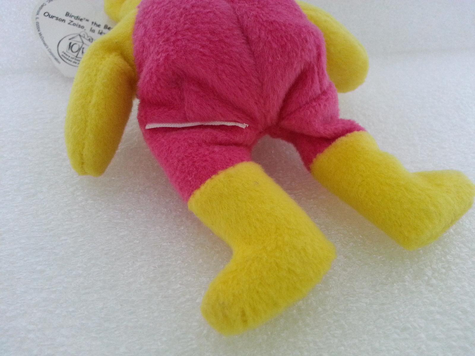 McDonalds 2004 Ty Birdie The Bear No 3 10th Anniversary Canada Yellow Soft Plush