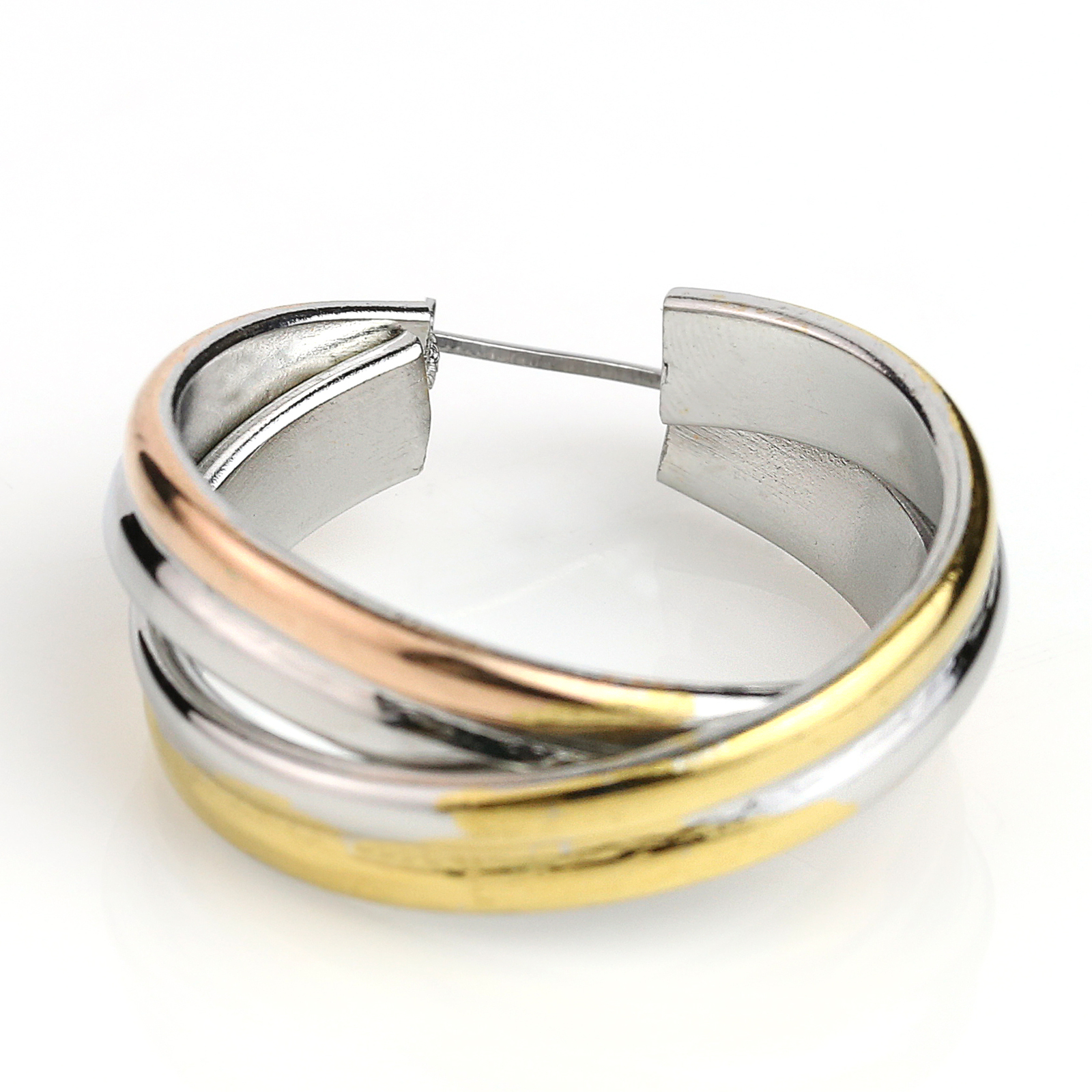 Twisted Tri-Color Silver, Gold and Rose Tone Hoop Earrings- United Elegance