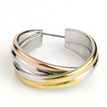 Twisted Tri-Color Silver, Gold and Rose Tone Hoop Earrings- United Elegance image 3