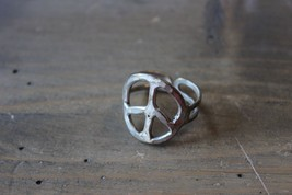 Adjustable Silver Tone Peace Ring - $5.94
