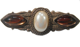 Gold Tone C Clamp Brooch With 3 Stones Vintage Vtg 1950s 50s Retro Art Deco - $19.80