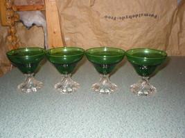 "4 Vintage Green Bubble Boopie Burple Berwick 4"" Glass Sherbet Anchor Hocking - $33.19"