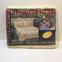 Twin Fitted Sheet Calico Medallion Tastemaker JP Stevens Flannel Yellow ... - $19.34