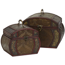 Decorative Chests (Set of 2), Nearly Natural - $53.42