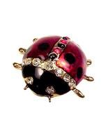 Austrian Crystal Ladybug Pin Brooch Jessica Lauren Lady Bug Enamel in Gi... - $17.95