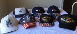 7 Vtg Strap Snap Back Hat Cap Vfw War Veteran Desert Storm Convention Fl,Tn Pins - $49.99