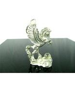 MWFP Fine Pewter Prancing Pegasus & Crystal Fancy Figurine Statue Sedlow - $24.70