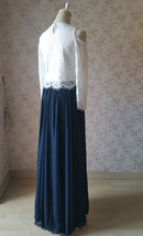 Navy Bridesmaid Sets Dress Full Chiffon Skirt Hollow Long Sleeve Crop Lace Top image 4