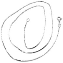 18K WHITE GOLD CHAIN MINI 0.8 MM VENETIAN SQUARE LINK 23.60 INCH. MADE IN ITALY image 1