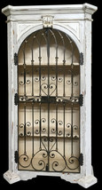 French Country Maison Chateau Blanc Wood Iron Acent Arch Cabinet,42'' x ... - $2,326.50