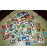 Vintage LOT Unsorted Cancelled Old Foreign & US Stamps (mostly 1940s - 1... - $19.50