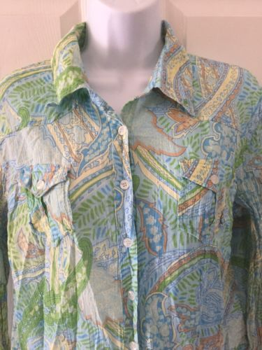 Nine & Co. Weekend Women's Button-up Blue Paisley Shirt Size Large Long Sleeves