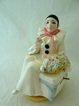 Schmid Pierrot Love Clown Porcelain Music Box Figure Michel Oks Vintage 1981 - $24.74
